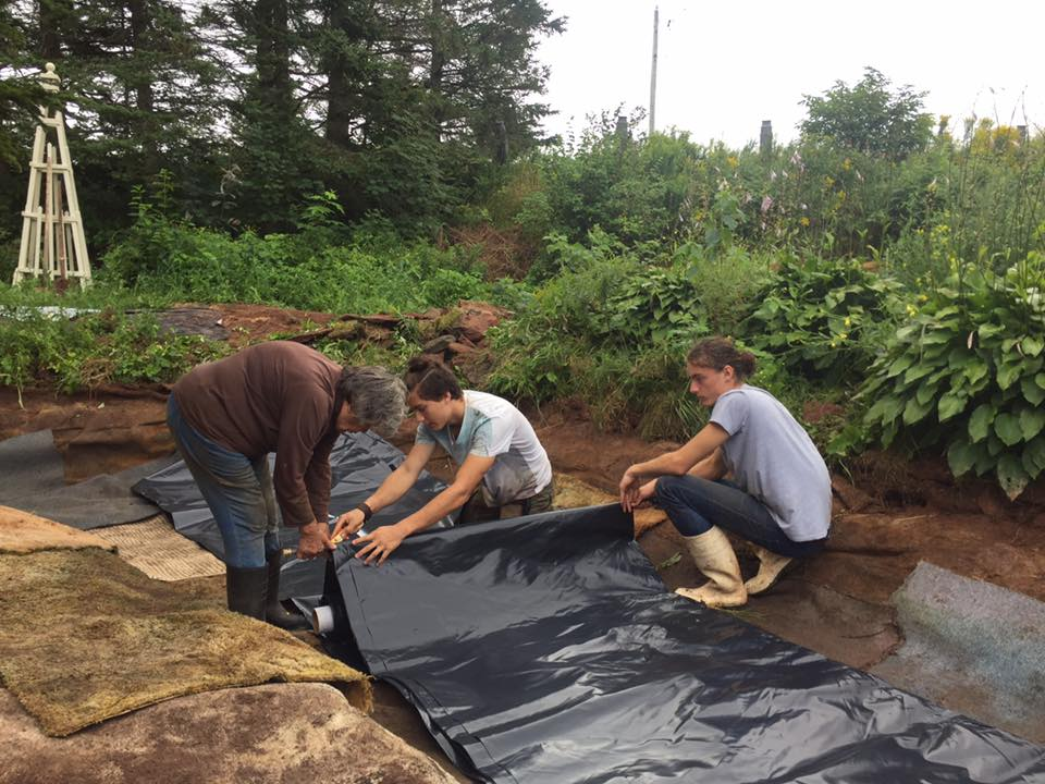 Pond liner replacement Ethan and Isaac